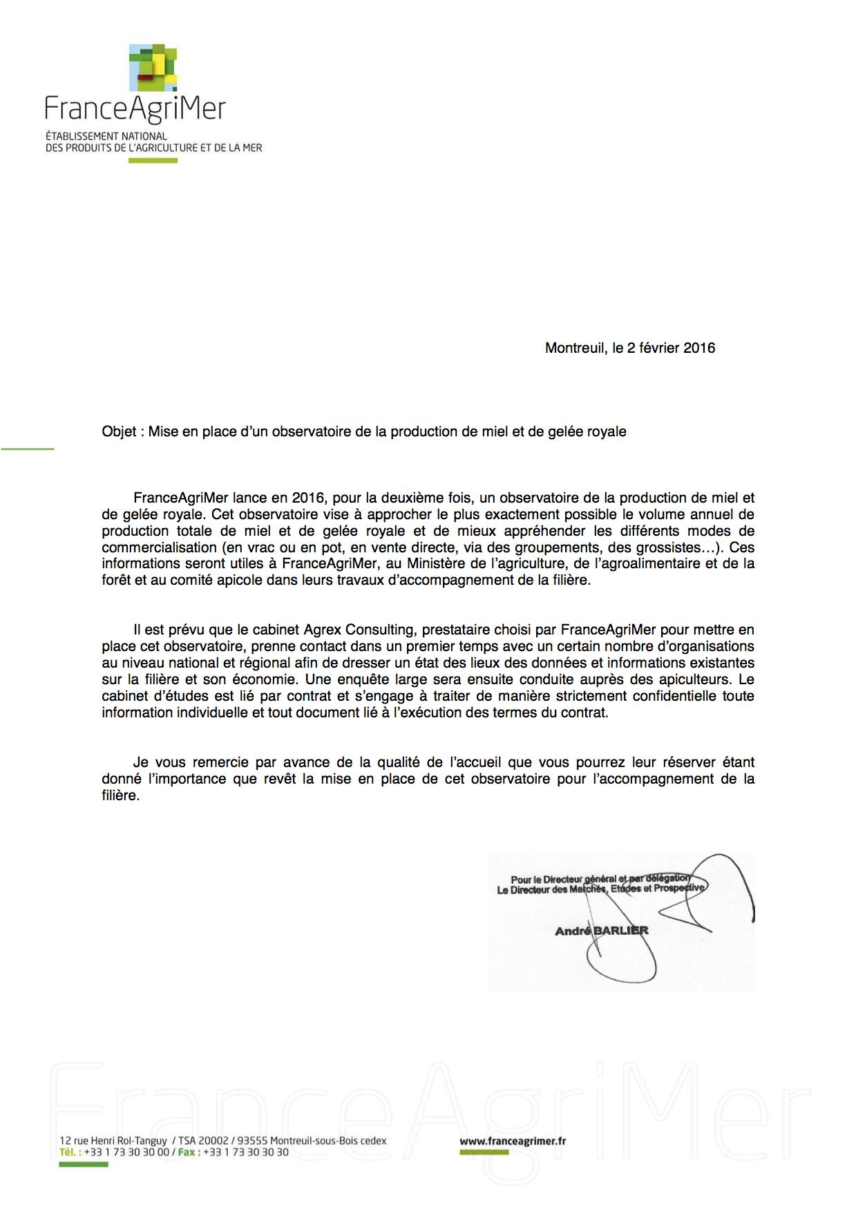 AGREX lettre de mission observatoire miel